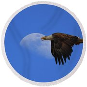 Eagle Moon Round Beach Towel
