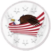 Round Beach Towel featuring the digital art Eagle Of The Free V1 by Bruce Stanfield