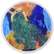 Round Beach Towel featuring the painting Standing Outside The Fire by Donald J Ryker III