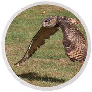 Round Beach Towel featuring the photograph Eagle Owl On The Hunt 1 by William Selander