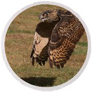 Round Beach Towel featuring the photograph Eagle Owl On The Hunt 2 by William Selander