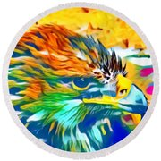 Eagle Pop Art 1 Round Beach Towel