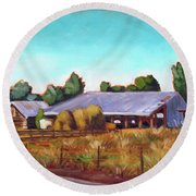 Eagle Road Barn Round Beach Towel