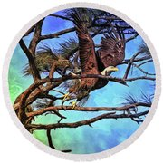 Round Beach Towel featuring the painting Eagle Series 2 by Deborah Benoit