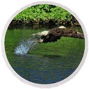 Round Beach Towel featuring the photograph Eagle Series Fish Catch by Deborah Benoit