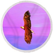 Round Beach Towel featuring the painting Eagle Series Painterly by Deborah Benoit