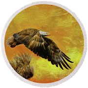 Round Beach Towel featuring the painting Eagle Series Strength by Deborah Benoit