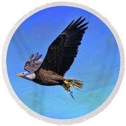 Round Beach Towel featuring the photograph Eagle Series Success by Deborah Benoit