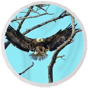 Round Beach Towel featuring the photograph Eagle Series Wings by Deborah Benoit