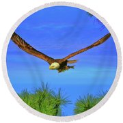 Round Beach Towel featuring the photograph Eagle Series Through The Trees by Deborah Benoit