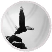 Eagle Takeoff At Adak, Alaska Round Beach Towel by John A Rodriguez