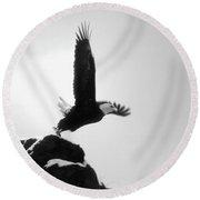 Eagle Takeoff At Adak, Alaska Round Beach Towel