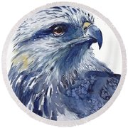 Eagle Watercolor Round Beach Towel