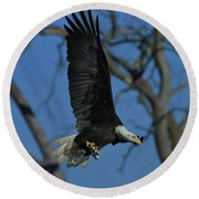 Round Beach Towel featuring the photograph Eagle With Fish by Coby Cooper