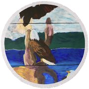Round Beach Towel featuring the painting Eagles by Donald J Ryker III