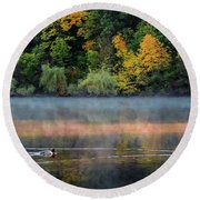 Early Autumn Morning At Longfellow Pond Round Beach Towel