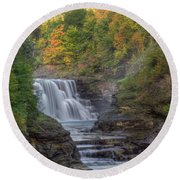Round Beach Towel featuring the photograph Early Autumn On Lower Falls by Rod Best