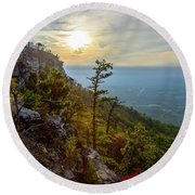 Early Autumn On Pilot Mountain Round Beach Towel