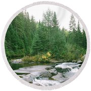 Early Autumn On The Madawaska River Round Beach Towel