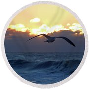 Early Bird Round Beach Towel by Newwwman