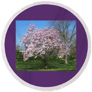 Early Blooms Round Beach Towel