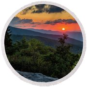 Blue Ridge Parkway Sunrise - Beacon Heights - North Carolina Round Beach Towel