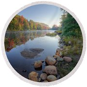Early Color On Bald Mountain Pond Round Beach Towel