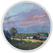 Early Evening At Phil's Farm Round Beach Towel