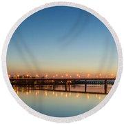 Early Evening Bridge At Sunset Round Beach Towel