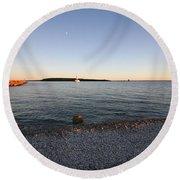 Early Evening On Mackinac Island Round Beach Towel
