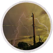 Early Evening Storm Round Beach Towel