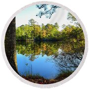 Early Fall Reflections Round Beach Towel