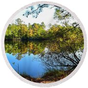 Round Beach Towel featuring the photograph Early Fall Reflections by Nicole Lloyd