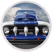 Early Fifties Ford V8 F-1 Truck Round Beach Towel