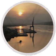 Round Beach Towel featuring the photograph Early Hour On The River by Lucinda Walter