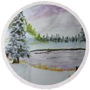 Round Beach Towel featuring the painting Early Ice  160705 by Jack G Brauer