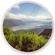 Early In Morning At Crown Point Oregon. Round Beach Towel