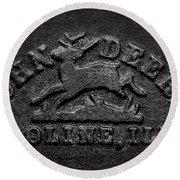 Early John Deere Emblem Round Beach Towel