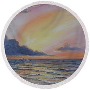 Early Joy Round Beach Towel by Fawn McNeill