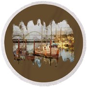 Early Light On Yaquina Bay Round Beach Towel