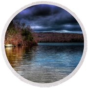 Round Beach Towel featuring the photograph Early May On Limekiln Lake by David Patterson