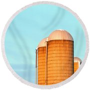 Early Monring Silos Round Beach Towel