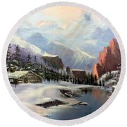 Early Morning In The Rocky Mountains Round Beach Towel