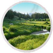 Round Beach Towel featuring the photograph Early Morning Along The Stream by Marie Leslie