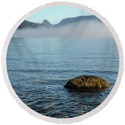 Round Beach Towel featuring the photograph Early Morning At Lake St Clair by Werner Padarin