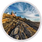 Round Beach Towel featuring the photograph Early Morning At Pemaquid Point by Darren White