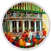 Early Morning At The Cafe Du Monde Round Beach Towel