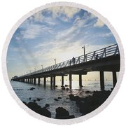 Early Morning At The Pier Round Beach Towel