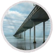 Early Morning By The Ocean Beach Pier Round Beach Towel