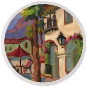 Early Morning Coffee At Old Town La Quinta Round Beach Towel